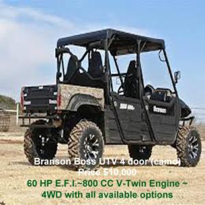 Branson Boss UTV 4 Door - New Equipment - KwikParts LLC